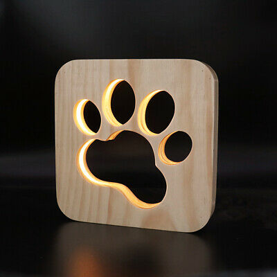 USB Dog Paw Table Lamp 3D Night Light Solid Wood Hollow LED Kids Bedroom Decor