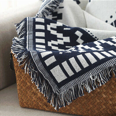Home Geometric Fringe Sofa Bed Throw Blanket Couch Covering Quilt Floor Carpet