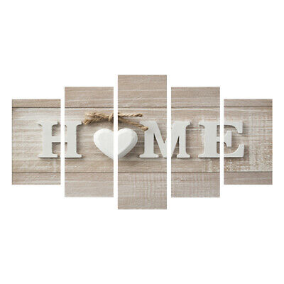 5 Pcs White Love Home Art on Canvas Painting Picture Sweet Heart Wall Decoration
