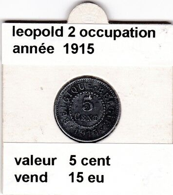 FB )pieces de 15  cent 1915 leopold 2  occupation