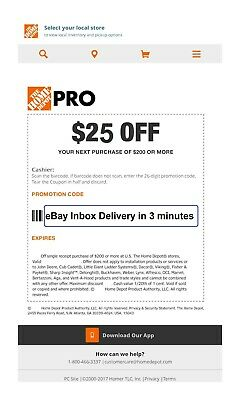 ONE 1X Home Depot 25 off 200Coupon In-Store Only-Very-FAST-