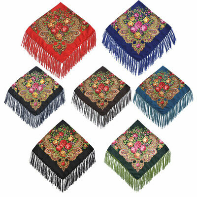 Pashmina Vintage Russian Style Floral Square Scarf Shawl Tassel Scarf Wraps