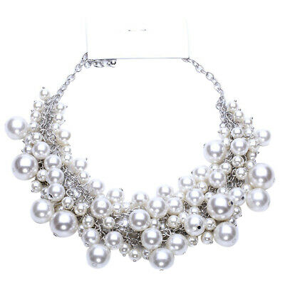 White Pearl Beaded Multi-Layer Necklace Women Statement Bib Chunky Jewelry Gift