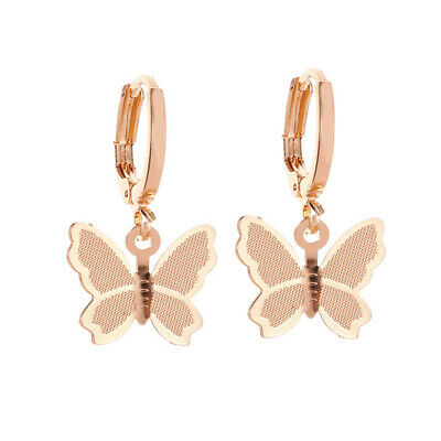 Elegant Women Lady Frosted Butterfly Ear Hoop Drop Dangle Earrings Jewelry Gift