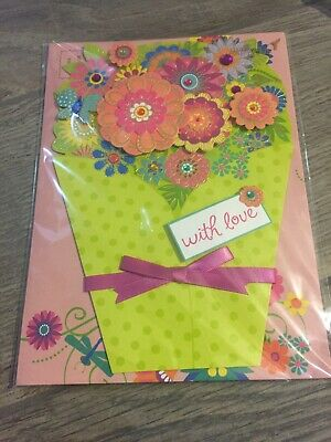 Papyrus Greetings Mothers Day Card Die-Cut Bouquet of Flowers Beautiful