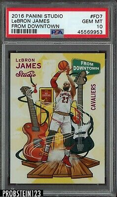 2016-17 Panini Studio From Downtown LeBron James Cleveland Cavaliers PSA 10