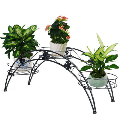 Arch Plant Stand Rack Metal Patio Stand Rack  With 3 Holder Wrought Iron