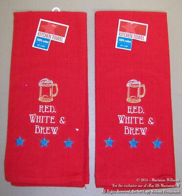 2 NEW FOURTH 4th OF JULY HAND TOWELS PATRIOTIC  BEER MUG RED WHITE BLUE BREW
