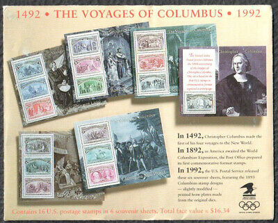 SC2624 - 2629 - Voyages of Columbus Souvenir Sheet Complete Packet of 6 MNH 2