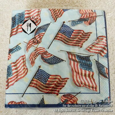 NEW 40 HAPPY FOURTH 4th OF JULY PATRIOTIC PAPER NAPKINS WAVING AMERICAN FLAGS