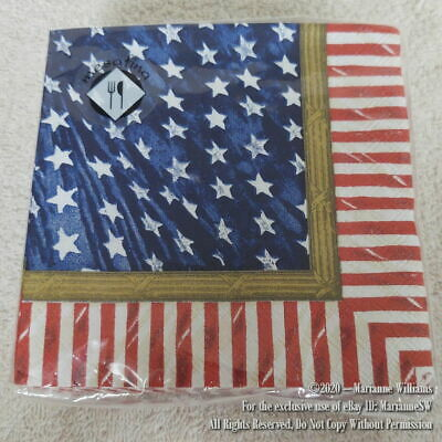NEW 40 HAPPY FOURTH 4th OF JULY PATRIOTIC PAPER NAPKINS AMERICAN FLAG THEME