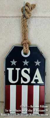NEW MEMORIAL DAY FOURTH 4TH OF JULY USA PATRIOTIC METAL WALL DOOR HANGING PRIM
