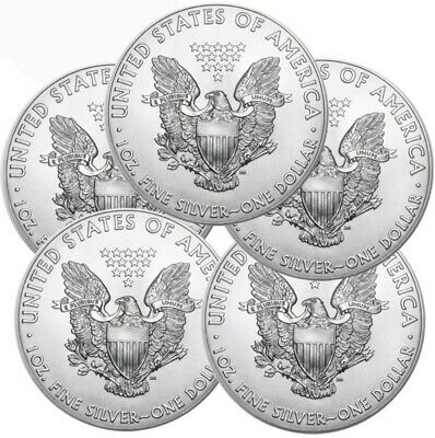 Lot of 5 - 2016 American Eagle Coins 1 oz -999 Fine Silver