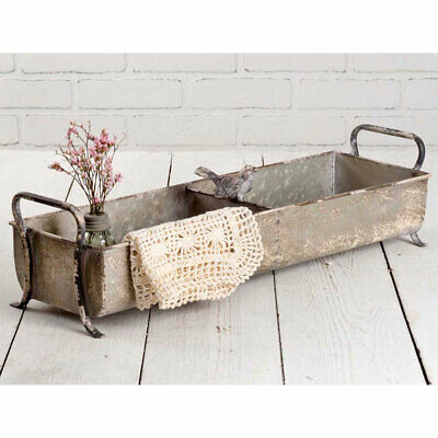 New French Country Farmhouse Chic Rustic DIVIDED TRAY WITH BIRD Metal Basket