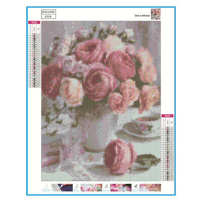 5D DIY Full Drill Diamond Painting Pink Flowers Cross Crafts Stitch Kits Decor