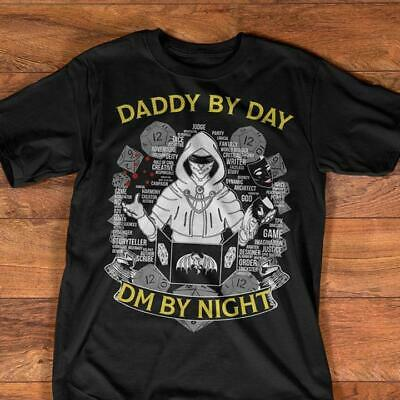 Fathers Day Dad By Day DM By Night Tshirt Men Black M - 3XL