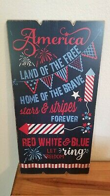 Fourth of July Patriotic Wall Plaque  11-68 x 23-68 inches