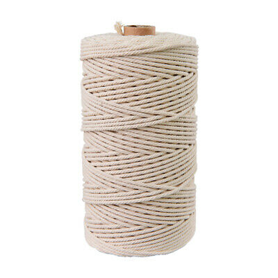 200 m x 3 mm Cotton Rope Cord Macrame Hand Woven Decoration Cake Packaging Gift