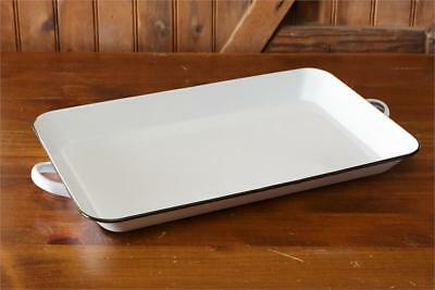 New French Country Farmhouse Chic Shabby Vintage WHITE ENAMEL TRAY With Handles