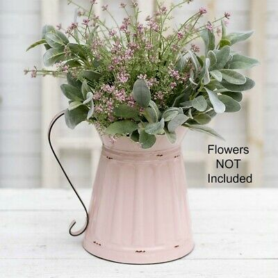 New Shabby Chic French Country Farmhouse PINK PITCHER Water Can Vase Bucket