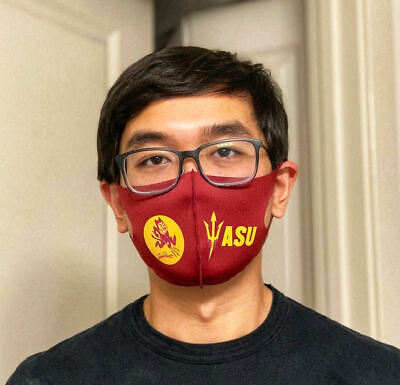NEW WASHABLE SNUG FIT SCUBA FABRIC FACE MASK WITH NCAA COLLEGE TEAMS LOGO