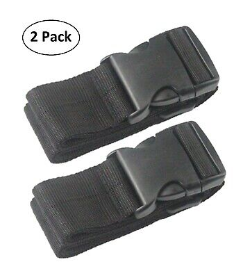 Deluxe Heavy Duty Nylon Luggage Belt Add-A-Bag Strap Adjustable - 2 Pack