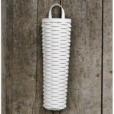 New Shabby Chic Farmhouse Rustic WHITE LONG WALL BASKET Hanging 18