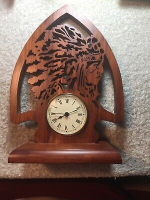 Beautiful Solid Cherry Arrowhead With Indian Scroll Sawed Hand Made Clock