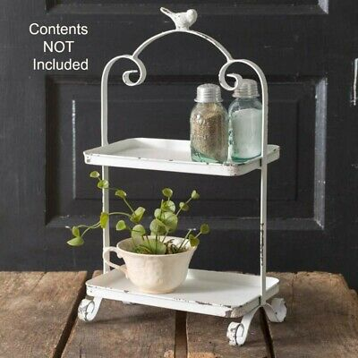 New Shabby French Country Chic Cottage WHITE BIRD TRAY Tiered Basket Caddy