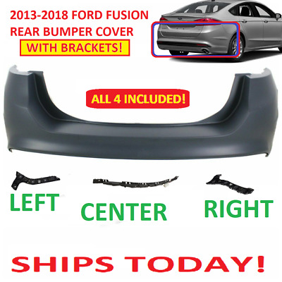 2013 2014 2015 2016 2017 2018 ford fusion rear bumper cover WITH BRACKETS NEW