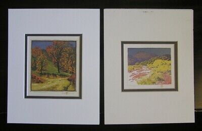 Pair 2 Gustav Baumann Small Prints  Road of a Morning - Arroyo Chamisa