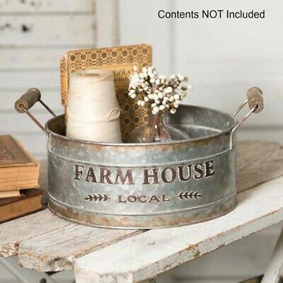 New French Country Rustic Primitive FARMHOUSE LOCAL Metal Basket Bucket Tray