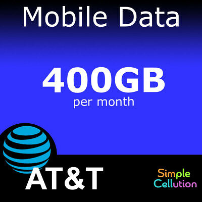 AT-T 400GB 4G LTE 5Ge No Contract Data Plan Monthly Rental for Hotspot or Tablet
