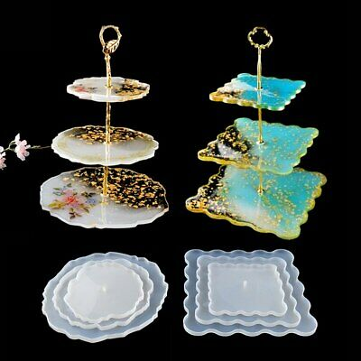 DIY 3 Tiers Fruit Dish Coaster Resin Casting Silicone Mold Stand Agate Epoxy US