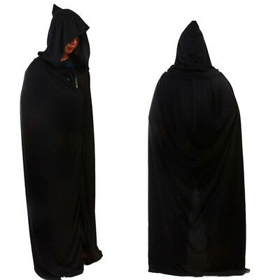 Adult Long Hooded Cape Cloak Coat Grim Reaper Fancy Dress Costume Outfit 170cm