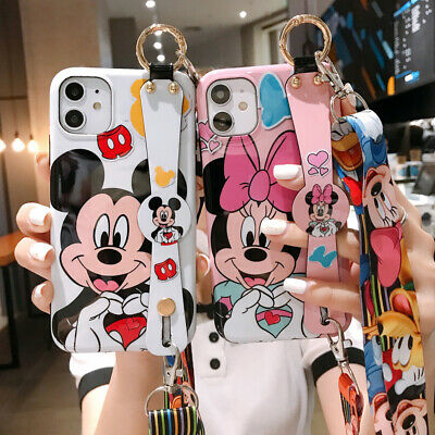 Disney Mickey Minnie Strap Phone Case Cover For iPhone 11 Pro Max XR Xs 7 8 Plus