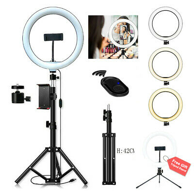 10 Selfie LED Ring Light w Tripod Phone Holder Desk Stand Dimmable For Makeup