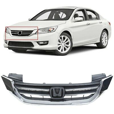 For 2013 2014 2015 Honda Accord 4D Black - Chrome Front Bumper Hood Grille