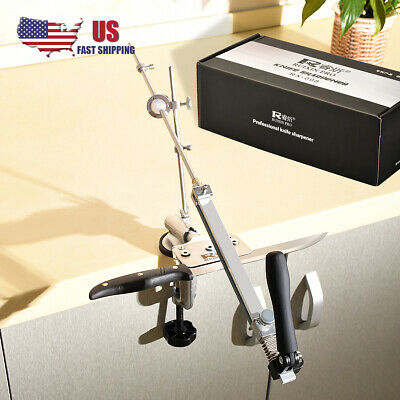 Knife Sharpener Sharpening System Fix-Angle With 4pc Stone Grinding Tools Set US