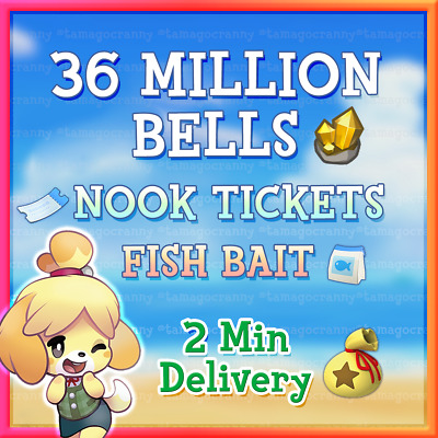 Animal CrossingNew Horizons Bells Nook Mile Tickets Fish Bait Fast Delivery