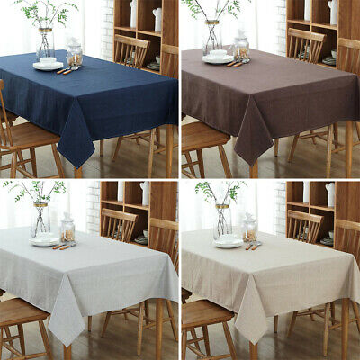 Linen Tablecloth Waterproof Oilproof Rectangular Wedding Dining Table Cover US