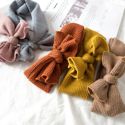 Toddler Baby Girls Knitted Turban Headband Hair Band Bow Knot Headwear Headwrap