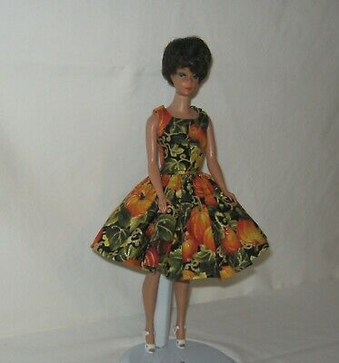 Handmade SHORT Cotton Black with Fall Pumpkins and Vines  Dress FOR Dolls
