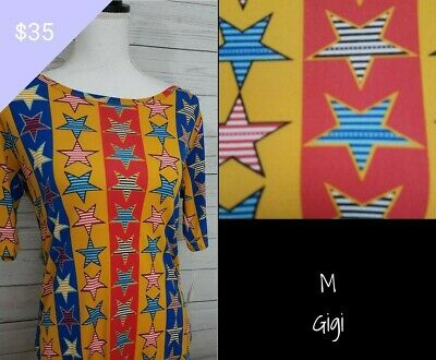 Lularoe Disney Gigi NWT MEDIUM Top Shirt 4th of July Print SIZE UP