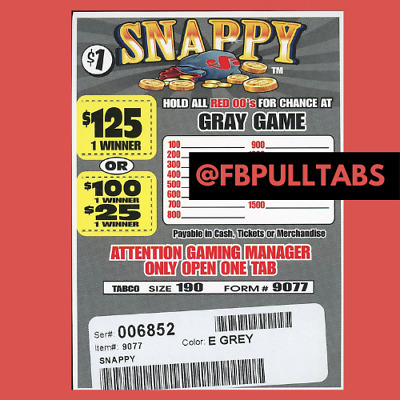 SNAPPY - 190 PULL TABS AT ONE DOLLAR EACH - 65 PROFIT - FUNDRAISER