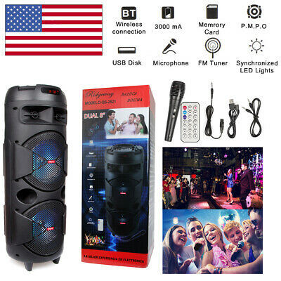 Dual 8 Woofer Portable FM Bluetooth Party Speaker Heavy Bass Sound With Mic