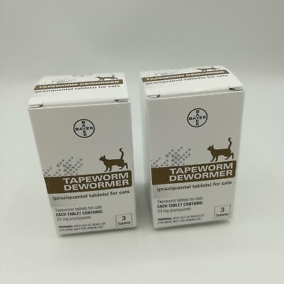 Lot of 2 Bayer Tapeworm Dewormer for Cats 3 Dewormer Tablets Per PackExp-2024