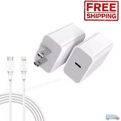 For iPhone 12 Pro Max iPad Fast Charger Cable 20W 18w USB C PD Adapter Type-C