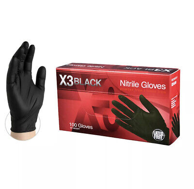 100 PCS AMMEX BX3 Black Nitrile Powder Free Gloves