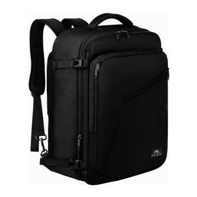 Matein Mens Black 39L Expandable Travel Backpack Luggage Carry-on Bag